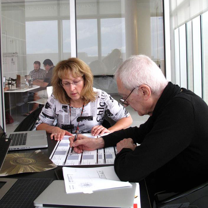 Judy Livingston studying with Massimo Vignelli